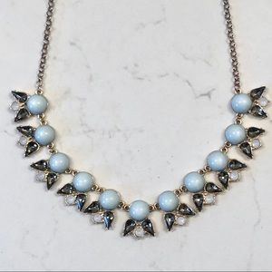 J. Crew Statement Necklace - blue & grey crystal